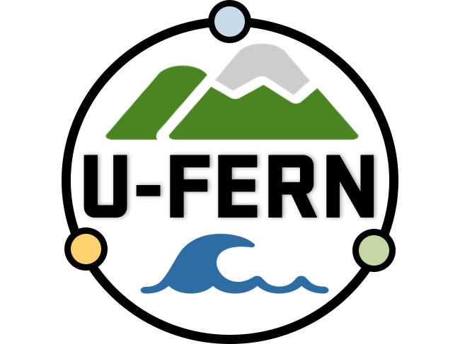 the you fern logo, showing a mountain and waves flanking text spelling out U-F-E-R-N